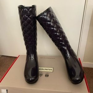 NIB Hunter Refined High Gloss Quilted Rain Boot